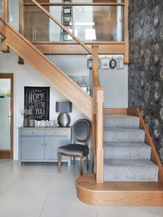 DIY Home Ideas : interior-design-home:Look at the modern glass staircase that we created for Nicola Roberts-Green and her family. Wooden Staircases, Wooden Stairs, Modern Staircase, Staircase Design, Staircase Ideas, Modern Hallway, Oak Stairs, Stairways, D House