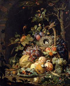 Tromp-l'oeil still life by Abraham Mignon, Ein Vogelnest im Fruchtkorb, Öl auf Leinwand, 85,5 x 70,5 cm