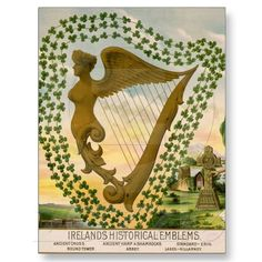 """Irish Harp ~ Based on the ancient lyre, the Irish harp is one of the world's oldest instruments. The ancient Irish kings employed harpist to entertain them. At one sad point in Irish history, conquering invaders made it illegal to posses an Irish harp and set out to burn every harp in Ireland in an attempt to kill the """"Irish spirit"""". Greatly honored, the harp is the national emblem of Ireland."""