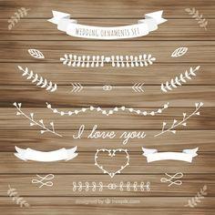 c2cda4b14745 Weiße Hochzeit Ornament der Blätter Sammlung Kostenlose Vektoren