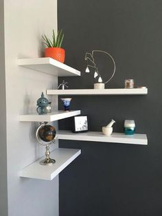 35 Stunning Floating Shelves For Living . - 35 Stunning Floating Shelves For Living Room Decor Ideas – Have you ever tried to install a set o - Room Ideas Bedroom, Home Decor Bedroom, Living Room Decor, Diy Home Decor, Gray Bedroom, Small Bedroom Hacks, Shelf Ideas For Living Room, Simple Home Decoration, Shelves In Bedroom