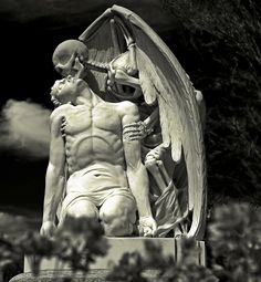 Located at Barcelona's Poblenou Cemetery, this magnificent sculpture, titled Kiss of Death (El Petó de la Mort in Catalan and El Beso de la Muerte in Spanish), depicts death (in the form of a winged skeleton) planting a kiss on a young man's forehead. According to the story, in 1930, the Llaudet family was mourning the death of their son and created this sculpture for his tomb.