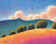 Western Landscape Art Original 16x20 Pointillist by EdMcCarthy, $550.00