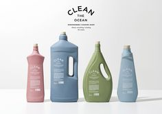 Clean the Ocean household cleaners designed by KOREFE. Porcelain containers that can be reused/repurposed after the product is finished. #packaging #design