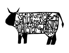 Cow (and lamb and pig) paper cut style prints. $18 each #drywell on Etsy