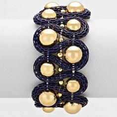 "7"" navy blue mesh stretch bracelet bangle 1.25"" wide"