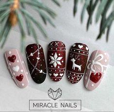 Christmas Gel Nails, Christmas Nail Designs, Holiday Nails, Cute Acrylic Nail Designs, Cute Acrylic Nails, Chic Nails, Stylish Nails, Miracle Nails, Nail Art Noel