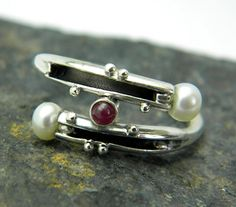 Pearl ruby ring sterling silver organic band bypass ring granulation size 7 handmade jewelry. $75.00, via Etsy.