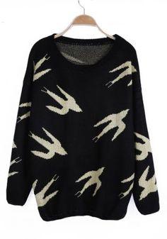 Green Wild Goose Pattern Long Sleeve Jumper Sweater