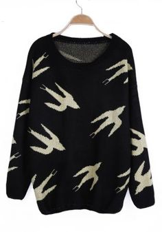 Green Wild Goose Pattern Long Sleeve Jumper Sweater... Shawn, if you are seeing this. This would be a great christmas present. ;). Hehe.