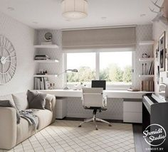 45 Fantastic Computer Gaming Room Decor Ideas and Design - Googodecor Guest Room Office, Home Office Space, Home Office Design, Home Office Decor, Home Decor, Bedroom Office Combo, Small Bedroom Office, Small Home Offices, Desk Layout