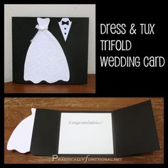 DIY Wedding Card: Dress & Tux Trifold { Printable - Invitatioin Card - Ideas of Invitatioin Card - Going to a wedding? Make a handmade wedding card in just a few minutes; all you need is scissors paper and glue! Wedding Shower Cards, Card Wedding, Wedding Vows, Wedding Venues, Rustic Wedding, Wedding Dress, Wedding Nails, Bridal Gown, Trendy Wedding