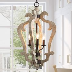 KSANA Wooden Chandeliers Farmhouse Pendant Kitchen Island Vintage Foyer Lighting Fixture, x Distressed White Farmhouse Chandelier Lighting, Lantern Pendant Lighting, Wooden Chandelier, Wood Pendant Light, Kitchen Chandelier, Wooden Lanterns, Foyer Lighting, Kitchen Pendants, Dining Room Lighting