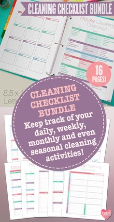Start organizing your home cleaning with this modern Cleaning Checklist Bundle, that you can instantly download and print at your home! Print what you need from this pack or print it all out and keep track of your daily, weekly, monthly and even seasonal cleaning activities!