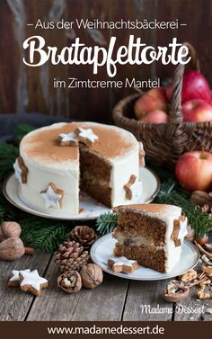 Baked apple pie in cinnamon cream coat- Bratapfeltorte im Zimtcreme-Mantel The perfect cake for Christmas, Advent Sundays and the Christmas holidays – baked apple cake in a cinnamon creme coat - Apple Recipes, Sweet Recipes, Cake Recipes, Cookies Et Biscuits, Cake Cookies, Winter Desserts, Mary Berry, Pumpkin Spice Cupcakes, Baked Apples