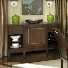 $704.00-$1,005.71 CHASPSH   Features: -Server. -Aspen collection. -Hazel finish. -Built-in wine rack. -Ball bearing drawer glides. -Assembly required.