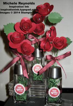 Handmade paper flower bouquet by Michele Reynolds, Inspiration Ink, using Stampin' Up! products - Starburst Sayings Set, Glimmer Paper, Starburst Framelits, Spiral Flower Originals Die, Autumn Accents Bigz Die, and Dazzling Details.