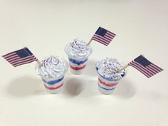 American Girl Patriotic Sundae  18 doll food ice by BrokenRoadFarm, $3.75