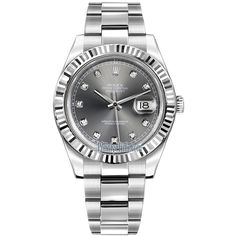 Rolex Oyster Perpetual Datejust II 116334 Rhodium Diamond Watch ($9,945) ❤ liked on Polyvore featuring men's fashion, men's jewelry, men's watches, stainless steel, mens diamond watches, rolex mens watches and mens diamond bezel watches