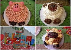 farm animal birthday cakes.