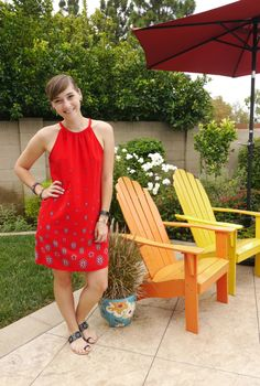 Red Hot -- thrifted Old Navy shift dress with jewel sandals & accessories | Delightfully Kristi #ThriftStyleThursday