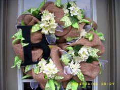 Burlap Door Wreath Burlap Initial Wreath Initial by LisasLaurels, $55.00