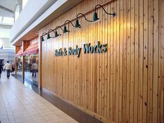 Love the wood paneling on this old style Bath & Body Works store.