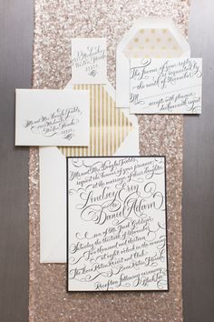 black, white and gold invites | Photo by Heather Cook Elliott Photography | Read more - http://www.100layercake.com/blog/?p=76584 #gold #invites #wedding