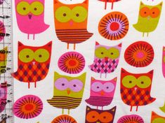 Bright Owls Lime Orange Pink French Terry Knit by TheFabricZoo
