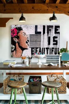 I.De.A: Life is Beautiful - Our office is the place where we spend a big part of our day... So, it must be a pleasant space, with decorative elements that will help us be more creative and happy.I feel that the message of the canvas above the office desk is the best message to have in front of your eyes while you are working in order to be more inspired!!!