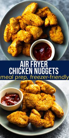 These crispy air fryer chicken nuggets are made with simple ingredients and deliver big flavor! Kid-friendly, freezer-friendly, and easy to cook ahead and reheat. #sweetpeasandsaffron #airfryer #kidfriendly #mealprep #freezer #chicken