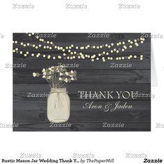 Rustic Mason Jar Wedding Thank You Card