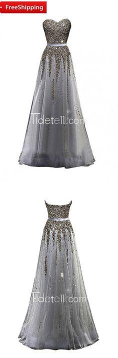 prom dress, 2016 prom dress, strapless floor-length prom dress, beaded prom dress
