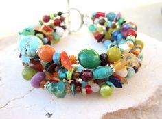 Multi Color Bracelet. Multi Semi Precious Stone Bracelet. Six Strand Toggle Bracelet. Multi Color Jewelry. $34.00, via Etsy.