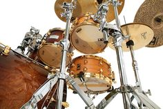 Great upward angle shot of this drum kit and wow, what awesome snares...