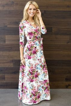Ivory Floral Draped 3/4 Sleeve Maxi Dress