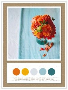 Liking this persimmon and blue color pallette