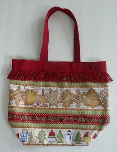 Holiday Tote, Gingerbread Christmas, Cotton Gift Bag - pinned by pin4etsy.com