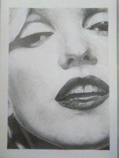 Marilyn. Dibujo con lápiz de grafito. Obra de Pablo López Muñoz