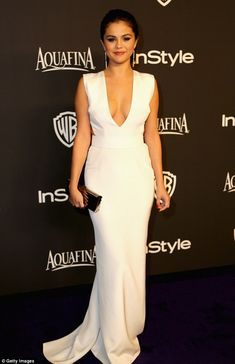 Selena Gomes in Kaufmanfranco gown - InStyle/ WB After-Party at 2015 Golden Globe Awards. (January 11, 2015)