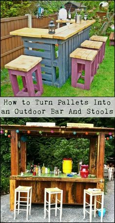 How to Turn Pallets Into an Outdoor Bar And Stools