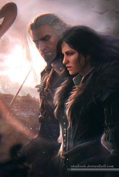 Geralt And Yennefer from Witcher 3: Wild Hunt. DA page link - http://shalizeh.deviantart.com/art/Geralt-And-Yennefer-538344353