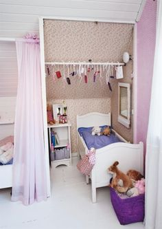 When is a kids' room closet not a closet? When it's used as a reading nook, study area, changing station, or dressing room. Attic Spaces, Kid Spaces, Home Bedroom, Girls Bedroom, Room Closet, Closet Space, Closet Doors, Small Bedroom Designs, Sweet Home