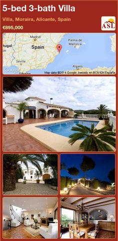 5-bed 3-bath Villa in Villa, Moraira, Alicante, Spain ►€895,000 #PropertyForSaleInSpain