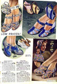 Chicago Mail Order catalog ad for shoes, summer, 1938 heels pumps color illustration 30s 40s war era satin blue floral oxford flats sandals grey stripes print