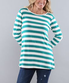 Loving this Jade & White Stripe Elbow-Patch Button-Back Tunic on #zulily! #zulilyfinds