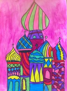 Basil's Cathedral- Water Color Lesson for graders art inklings: St. Basil's Cathedral- Water Color Lesson for graders Aladdin Art, Let's Make Art, Arts And Crafts Storage, Moroccan Art, Jr Art, 4th Grade Art, Jewish Art, Art Lessons Elementary, Russian Art