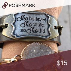 Leather bracelet She believed she could so she did Jewelry Bracelets