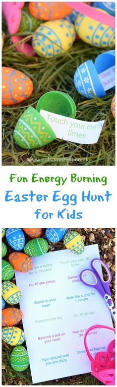 Fun Easter egg hunt idea for kids - fill the eggs with energy burning excercise ideas - fun and healthy alternative to a chocolate egg hunt with free printable list (easter eggs cascarones decorados) Ostern Party, Diy Ostern, Hoppy Easter, Easter Eggs, Easter Table, Party Fiesta, Easter Hunt, Easter 2018, Easter Activities