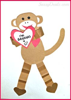 "monkey valentines day craft for kids You will need four brown strips of paper and fold them back/forth. These will be the monkey's arms and legs. Cut a body, face, ears, mouth, and nose from paper. monkey valentine craft for kids Glue them together. Use a black marker to draw the eyes and nostrils. Bring the arms together and glue them. Add a red heart to the monkey's chest and one he's holding. monkey valentine craft for kids Write ""I'm BANANAS 4 U!"" on the heart. Add a monkey tail and two…"